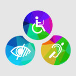 Three colorful accessibility icons